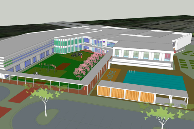 Rendering of the proposed combination YMCA and a PreK-5 school planned for Southeast Raleigh.